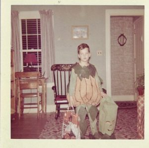 penn jillette as a kid in a pumpkin costume halloween